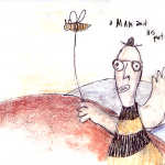 man and his pet bee